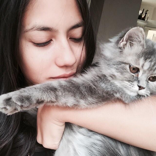 Pevita Pearce dengan kucingnya