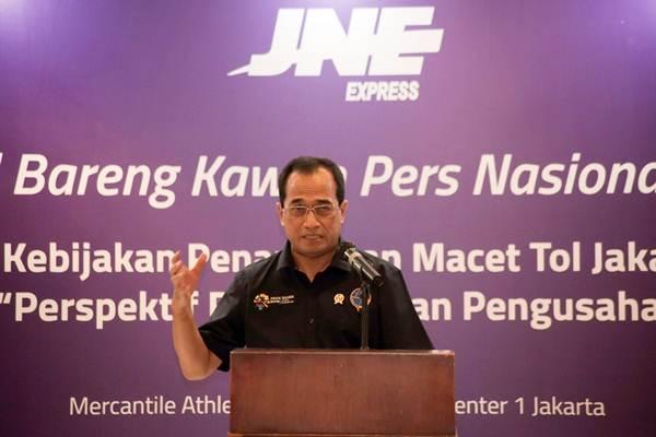 Budi Karya Sumadi Menteri Perhubungan dalam acara JNE Kumpul Bareng Kawan Pers